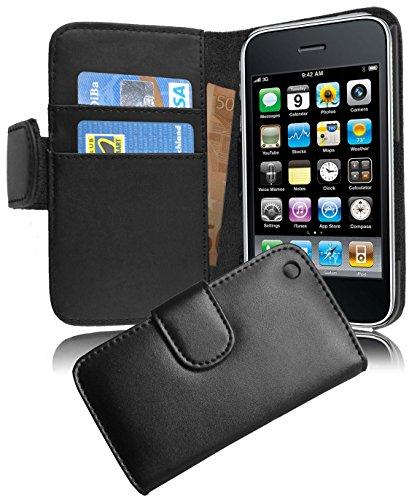Apple iPhone 3 / 3S / 3GS Hülle in SCHWARZ von Cadorabo - Handy-Hülle mit Karten-Fach und Standfunktion für iPhone 3 / 3S / 3GS Case Cover Schutz-hülle Etui Tasche Book Klapp Style in KAVIAR-SCHWARZ KAVIAR-SCHWARZ