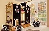 Abenteuerbett aus Buche massiv, Vorhang aus 100% Baumwolle in Schwarz mit Piraten-Motiven, Liegefläche 90 x 200 cm, Maße: B/H/T ca. 211/188-233/99 cm