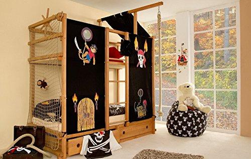 lifestyle4living Abenteuerbett aus Buche massiv, Vorhang aus 100% Baumwolle in Schwarz mit Piraten-Motiven, Liegefläche 90 x 200 cm, Maße: B/H/T ca. 211/188-233/99 cm