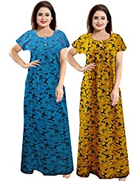 Generic Women's Cotton Night Dress/Gown/Nighty In Multi Colour (Combo)