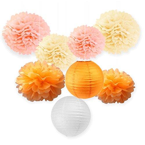 SUNBEAUTY Deco Orange Mariage DIY Decoration Chambre Salle Fete Halloween Fleur Pompon de Soie et Lanterne Papier Chinois