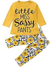0f38c9a60 K-youth Ropa Bebé Niño Niña 0-3 Años 2 Piezas Conjunto de Trajes Carta  Impresión Manga Larga Camiseta Blusa Suéter…