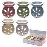 Unbekannt Kleine Keramik Duftlampe Blumen Design 7,5cm Aromalampe Duftöl Lampe Teelicht Grün