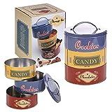 Set de 3 latas de galletas de té de café redonda RetroMetal cocina frascos de comida seca, Cookies, Candy & Chocolates Tins Set
