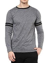 Veirdo Plain/Solid Full Sleeve Black Round Neck Men's Cotton Tshirt