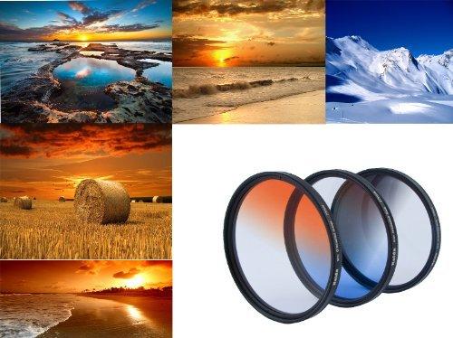 3er Verlaufsfilter Set (Blau, Grau, Orange) für Digitalkameras - Filterdurchmesser 82mm - Inkl. passendem Filtercontainer