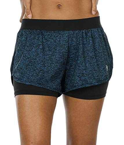 icyzone Damen Kurze Sport Hose Running Gym Workout Shorts 2 in 1 (Royal Blue,L)