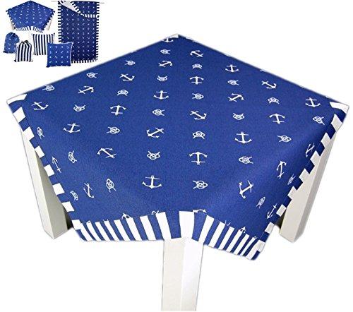 Anker maritime Küchentextilien Mitteldecke 80x80 cm blau weiß Streifen J. Schleiß / Deutschland (Mitteldecke 80x80 cm)