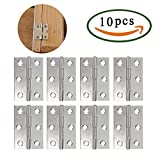 Stainless Steel Butt Hinges ManYee 10Pcs 48MM Long Folding Butt Hinges 6 Mounting Holes Silver Tone Metal Cupboard Cabinet / Home Furniture Door Butt Hinge for Animal House Small Boxes
