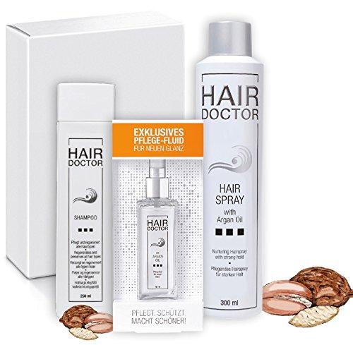 Hair Doctor Arganöl 3-teiliges Haarpflege Set Leave in Pflege Shampoo 250ml Argan Öl Pflege-Fluid 50ml Haarspray 300ml für trockenes Haar Anti Frizz Vorteilspreis Angebot