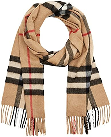 Burberry men's cashmere scarf check beige
