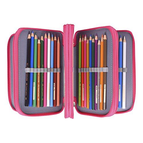 Newcomdigi astuccio per 72 matite portapenne astuccio scuola elementari super grande 4 strati porta matite sacchetto borsa trucco (senza matita) - rosa