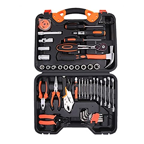 LESHP Precision Tools 55 Piece Tool Kit with Pliers, Torque Wrench, Socket Set, Screwdriver in Box Case - Great