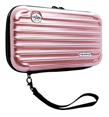 [TRIPPIG] Reisepass Halter / Reisepass Hülle / Reise Clutch Tasche / Kosmetik Organizer / Mini Gepäck Form / Kreditkarten Organizer mit Handschlaufe (roségold) (Make-up-halter)