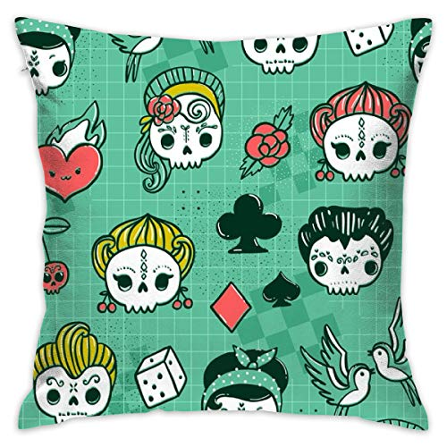 Mabell Beautifully Decorated Home Rockabilly Kawaii Tattoo Skulls, Birds, Cute Heart, Card Suits Throw Pillow Case 18X18 Inches