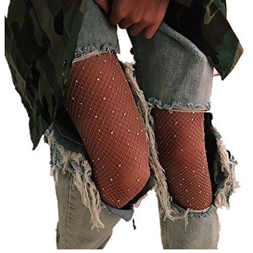Socken Longra Damen Mädchen Mode Strumpfmode Net Bodystockings Muster elastischen Strümpfe Strumpfhosen (C)