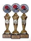 RaRu Tischtennis-Pokale (3er-Serie) mit Wunschgravur und 3 Anstecknadeln (Sticker)