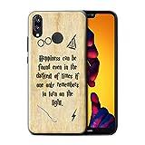 Stuff4 Custodia/Cover/Caso/Cassa Rigide/Prottetiva Stampata con Il Disegno Scuola di Magia Citazioni per Huawei P20 Lite - Happiness/Darkest Times