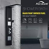 AuraLum Funktional Thermostat Schwarz Edelstahl Duschpaneel mit Temperatur Dispaly Aufputz Wandhalterung Montage