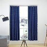 IJRTF Vorhang fertig mit Vorhangstange einfache Vorhänge alle Blackout Schlafzimmer Trennvorhänge Sterne Marineblau, W46xL54 (2-Panel)