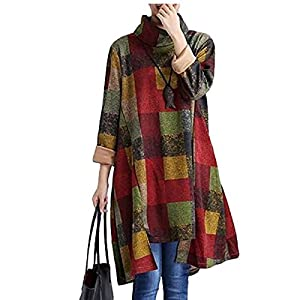 QBQ - Maglia girocollo da donna a manica lunga con stampa a maglia a maniche lunghe stampata autunno inverno (Verde, Medium)