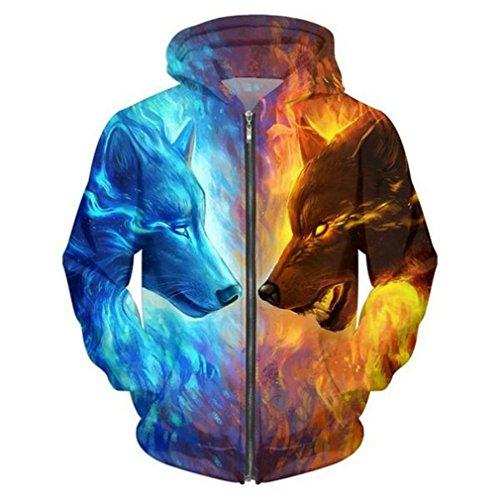 Eis und Feuer von 3D Wolf Zipper Hoodies Unisex Reißverschluss-Sweatshirts Männer Hoodies mit Kapuze Cardigan Casual Drop Ship ZIP039 XL (Feuer Und Eis Halloween)