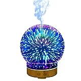 Souarts 3D Glass Aroma Diffuser Duftlampen 3D Glas 100ml Nachtlampe mit 7 Farben Luftbefeuchter Nachtlicht Oil Düfte Humidifier für Badezimmer Yoga