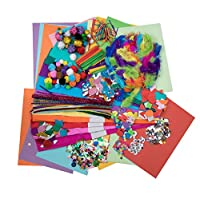 The Ultimate Arts & Craft Materials Mega Bumper Pack - includes Pipe Cleaners, Pompoms, Goggle Eyes, Coloured Crafting Paper, Tissue Paper, Matchsticks, Gem Stones, Feathers, Foam Shapes & more