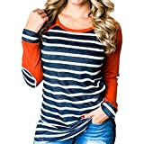 Longra Damen Langarmshirt Baumwolle Streifen Gestreift Bluse Shirt Damen Patchwork Rundhals Casual Oberteile Tops Tunika (Orange, L)