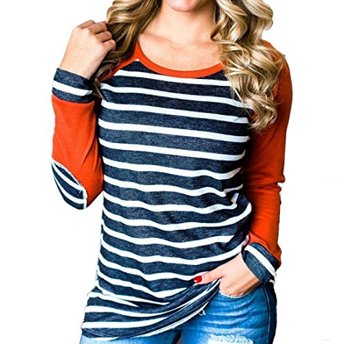 Longra Damen Langarmshirt Baumwolle Streifen Gestreift Bluse Shirt Damen Patchwork Rundhals Casual Oberteile Tops Tunika (Orange, M)