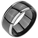 MunkiMix Breite 10mm Edelstahl Ring Band Silber Ton Schwarz Kette Hochzeit Größe 70 (22.3) Herren