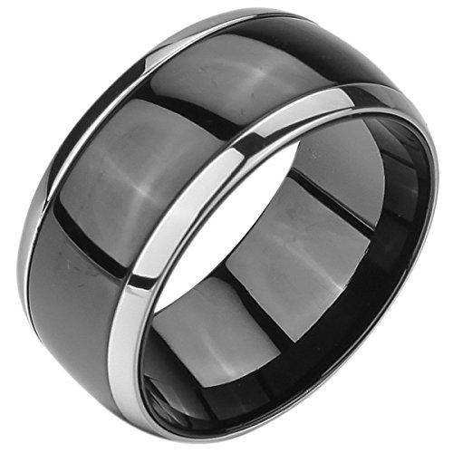 MunkiMix Breite 10mm Edelstahl Ring Band Silber Ton Schwarz Kette Hochzeit Herren