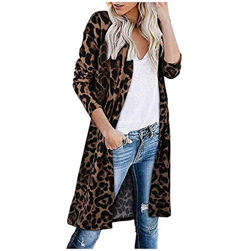 DNOQN Longjacke Plüschjacke Faserpelzjacke Strickmantel Damen Front öffnen Leopard Strickjacke Taschen Lange Ärmel Leicht Sweatshirt Mantel -