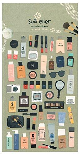 Sticker Set 54-tlg. - Make Up - rund um das Thema Schminken und Kosmetik - Lidschatten Nagellack Puder Creme Lippenstift Mascara und weitere Aufkleber