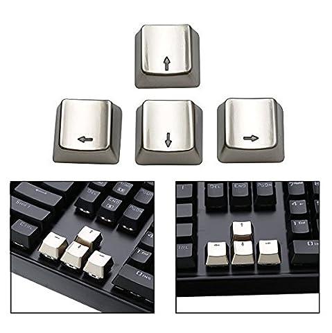 Itian 4 Pfeil Metall Key Cap Abdeckungen für mechanische Tastatur,Galvanik Keyset Zink Transparent Lichtdurchlässig(Up Down Left Right)