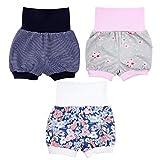 TupTam Baby Mädchen Kurze Pumphose Sommershorts 3er Pack, Farbe: Farbenmix 1, Größe: 80/86