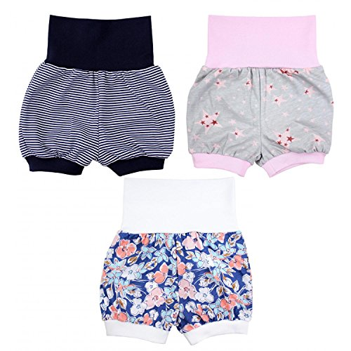 TupTam Baby Mädchen Sommershorts Kurze Pumphose 3er Pack, Farbe: Farbenmix 1, Größe: 80/86