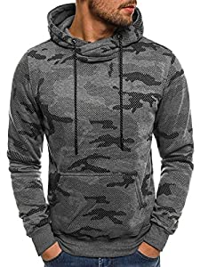 OZONEE Herren Sweatshirt Langarmshirt Sweatjacke Motiv Pullover Prints Camouflage Pulli J.STYLE DD131-10 L DUNKELGRAU