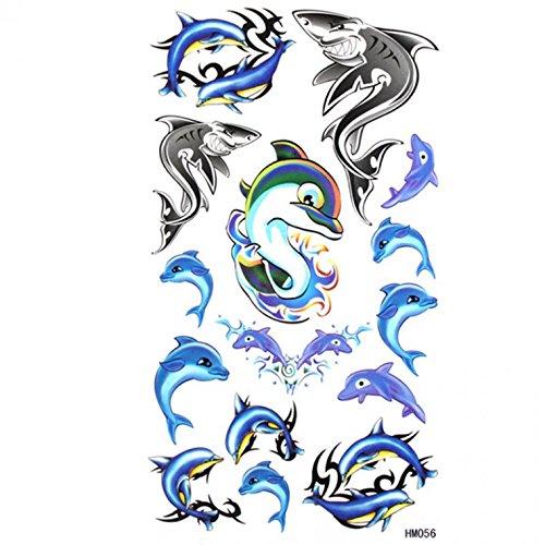 Grashine, grazioso tatuaggio adesivo impermeabile a prova di sudore, tatuaggio temporaneo blu con delfini e squali