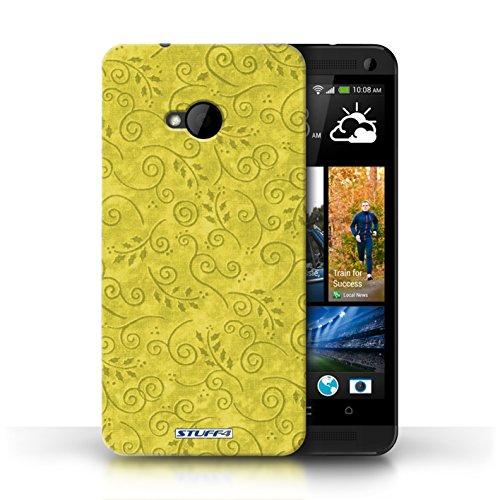Kobalt-swirl (KOBALT® Hülle Case für HTC One/1 M7 | Gelb Entwurf | Blatt-Strudel-Muster Kollektion)