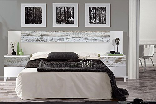 Mobelcenter - Cabezal y mesitas Vintage, acabado Blanco Brillo y Decapé - Medidas: 247 cm x 100 cm x 34 cm (0898)