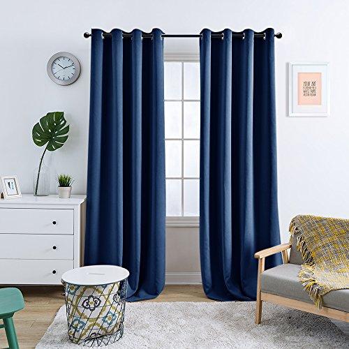 TOPICK Dunkel Blau blickdichte Verdunkelungsvorhänge Lange Schalafzimmer, Vorhänge mit Ösen,225cm x 130 cm (H x B), Energiespar & Wärmeisolierend 2 Stücke