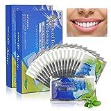 TIMESETL 56Stück Zahn Whitening Stripes Zahnaufhellung, Bleaching Strips Professionelle Zahnbleaching mit No Slip Technology Fluoridfrei ohne Peroxide für weiße Zähne Zahnweiss (Minze)