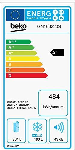 Beko GN 163220 Side-by-Side / A+ / 182 cm Höhe / 484 kWh/Jahr / 364 L Kühlteil / 190 L Gefrierteil / silber / No Frost / Multifunktionsdisplay / Wasserspender