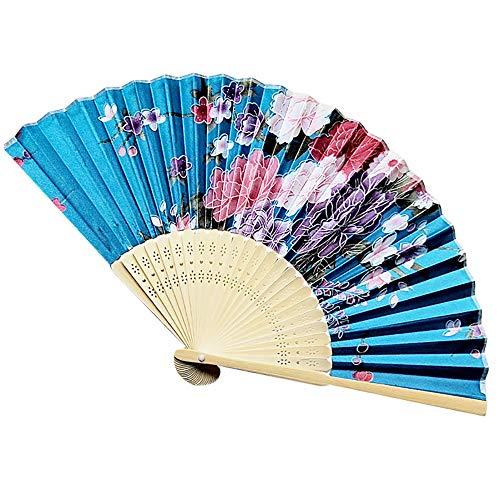 Cwemimifa Japanische Handfächer Kanagawa Sea Welle Fächer Taschenfächer mit Box Geschenk Wanddekor Hochzeit Kostüm Theater, Vintage Bambus Falten Hand Blume Fan Chinese Dance Party Pocket Geschenke