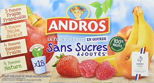 ANDROS  Compotes de fruits en gourdes 4 variétés panachées Sans Sucres Ajoutés 18x90g