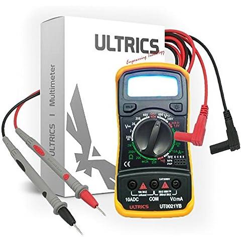 Ultrics® - Multimetro, voltmetro e amperometro digitale, AC, DC, OHM, con schermo LCD