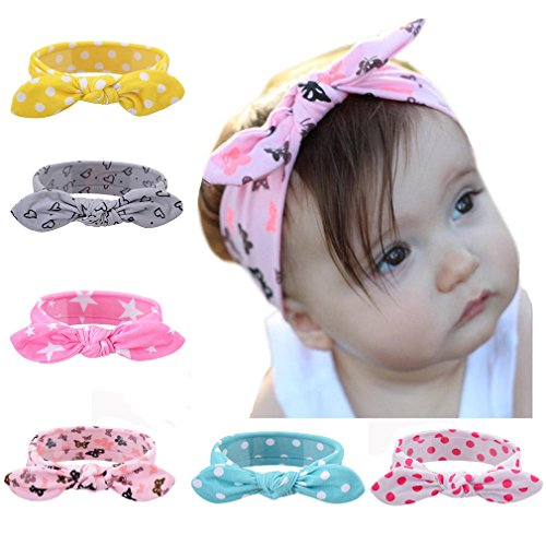 6 pcs Cute Baby Girl Turban Knot Headband Rabbit Ear Hair Accessories Band