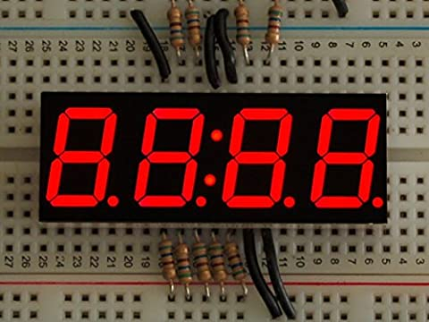 Adafruit 7-Segment-Uhranzeige, rot - 0.56