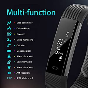Pulsera Actividad AIMIUVEI Pulsera Inteligente Impermeable con 3 Correas Recambias, Reloj Inteligente Mujer y Hombre,Podómetro,Cronómetros,Despertador,Cámara control,Compatible con IOS y Android